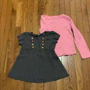 2 tops grey with buttons & pink with bling